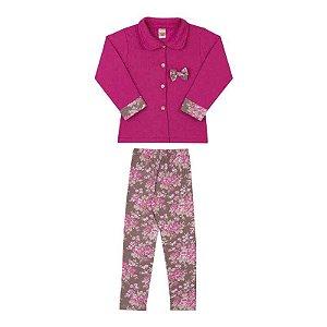Conjunto Casaco em Moletom Pink + Legging Cotton Estampado Marrom