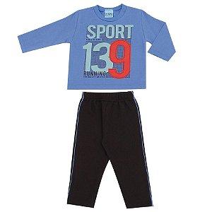Conjunto Blusa Moletom Sport129 Azul + Calça Moletom Preta