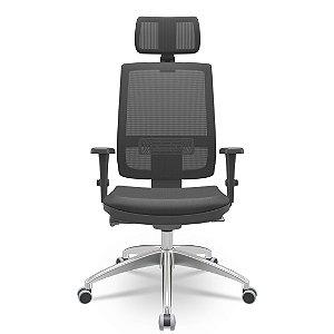 Cadeira Escritório Brizza Presidente Giratória Encosto em tela Braços Reguláveis Home Office Corporativa