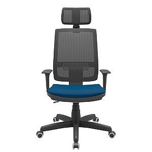 Cadeira Presidente  Escritório Brizza Giratória Encosto em Tela Braços Reguláveis Ergonomica Home Office Corporativa