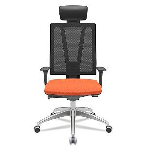 Cadeira Escritório Presidente Twister Giratória Encosto em Tela Porta Paletó Braços Reguláveis Home Office Corporativa