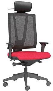 Cadeira Escritório Presidente Twister Giratória Encosto em Tela Braços Reguláveis Home Office Corporativa