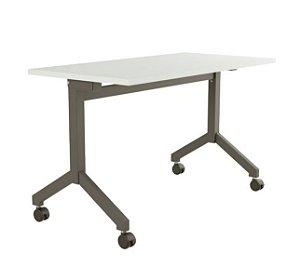 Mesa para Escritorio Dobravel Rebativel Home Office Reta 1,40 X 0,60 M 25 Mm Escrivaninha Rodinhas