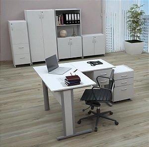 Mesa Em L Escritório Home Office 1,35 X 1,35 M 15 Mm Escrivaninha