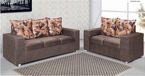 Conjunto de Sofa 2 e 3 lugares almofadas soltas floral/marrom ou chocolate/marrom Sued Amassado