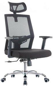 Cadeira Escritório Home Office Presidente Tela Braço Regulável Apoio de Cabeça