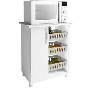 Armário Balcão Fruteira 3 Cestos Microondas Cozinha 1 Porta