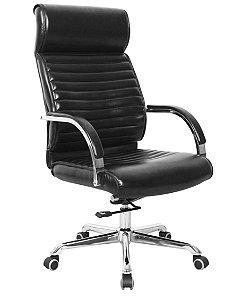 Cadeira Poltrona Escritório Presidente Relax Cromado Braços Fixos