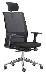 Cadeira Tela Escritório Home Office Presidente Braços Reguláveis Apoio de Cabeça Agile