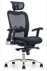 Cadeira Presidente Escritório Home Office Apoio Cabeça Ajuste Lombar Braços Regulaveis