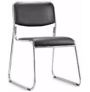 Cadeira Fixa Empilhável Preta Espera Cromada Design Hotel Recepção