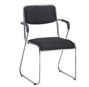 Cadeira Fixa Empilhável Hotel Refeitório Home Office Braços Preto