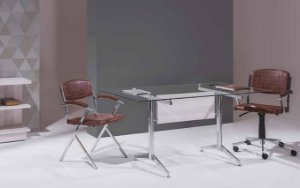 Mesa para Sala de Reunião Tampo em Vidro 8 mm 1,80 x 0,90 m Pés Cromados