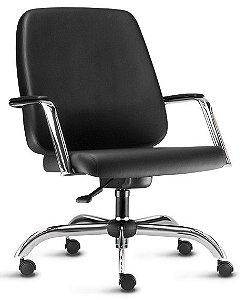 Cadeira Escritório Giratória Home Office Obeso 200 Kg Reforçada Braço Fixo Cromada