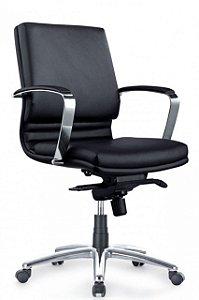 Cadeira Escritório Diretor Poltrona Cromado Braços Giratória Home Office