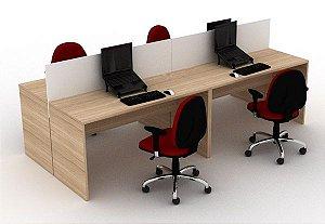 Plataforma de Trabalho com Mesas Retas Divisórias Pé Painel