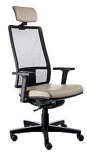 Cadeira Escritório Presidente Giratória Ergonômica Corporativa Passion Tela Apoio de Cabeça