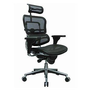 Cadeira Presidente Escritório Ergohuman Apoio de Cabeça Encosto em Tela