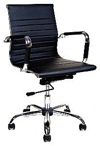 Cadeira Escritório Diretor Esteirinha Braços Fixos Cromado Giratória Home Office