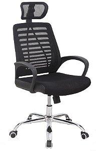 Cadeira para Escritório Presidente Giratória Home Office Braços Regulaveis Relax Apoio de Cabeça