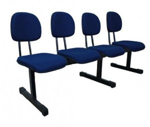 Cadeira Longarina Secretária 4 Lugares Espera Recepção Lounge