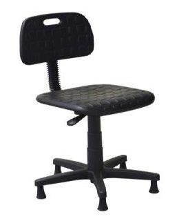 Cadeira Secretária Industrial em PU Poliuretano Giratória Sapatas Fixas