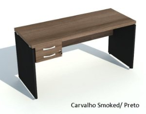 Mesa Reta com 2 Gavetas Escritório Corporativa 1,80 x 0,70 m 40 mm Home Office