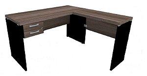 Mesa em L com 2 Gavetas Escritório Corporativa 1,34 x 1,50 m 40 mm Home Office