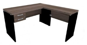 Mesa em L com 2 Gavetas Escritório Corporativa 1,50 x 1,50 m 40 mm Home Office
