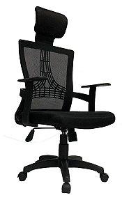 Cadeira para Escritório Presidente Giratória Home Office Braços Fixos Relax Encosto em Tela Mesh