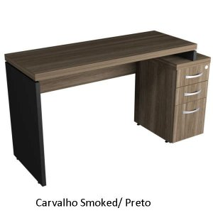 Mesa Reta Escritório Com 2 Gavetas + Pasta Suspensa Chave Corporativa 40 mm 1,34 x 0,60 m Home Office Corporativa