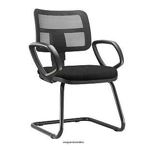Cadeira Zip Executiva Fixa Com Braços Fixos Escritório Atendimento Cantilever Aproximação