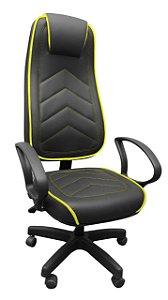 Cadeira Presidente Gamer Super Anatômica Giratória Relax Braços Fixos Home Office