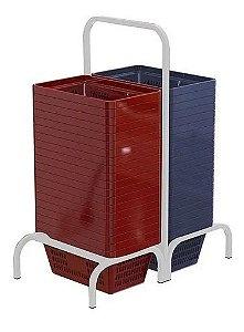 Kit Suporte Duplo Com 40 Cestos De Compras de 13 L Capacidade Supermercado Mercado Padaria Mercearia Empório
