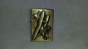 Isqueiro Guerra Mundial Recarregável Avião de Guerra - Tipo zippo