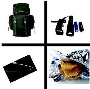 Mochila PQD em Lona - + Lanterna T6 + Kit Ração de Sobrevivencia -  BOB - Bug Out Bag