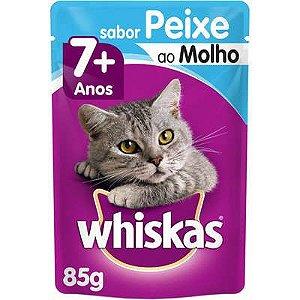 Ração Úmida Whiskas Sachê Peixe ao Molho para Gatos Sênior 7 + Anos