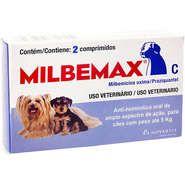 VERMÍFUGO - MILBEMAX PARA CÃES COM ATÉ 5KG - 2 COMPRIMIDOS