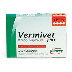 VERMIFUGO - VERMIVET PLUS ORAL PARA CÃES 660 MG 4 COMPRIMIDOS