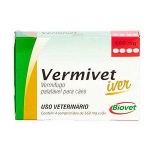 VERMIVET IVER VERMIFUGO PARA CÃES 660MG 4 COMPRIMIDOS