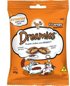 DREAMIES PETISCO SABOR FRANGO PARA GATOS ADULTOS  40G
