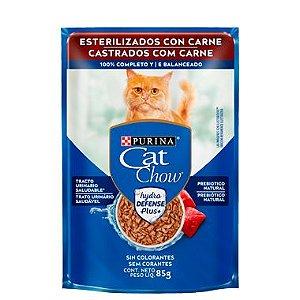Ração Úmida Nestlé Purina Cat Chow Sachê Castrados Carne ao Molho - 85g
