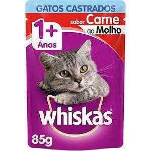 Ração Úmida Whiskas Sachê Carne ao Molho para Gatos Adultos Castrados - 85g