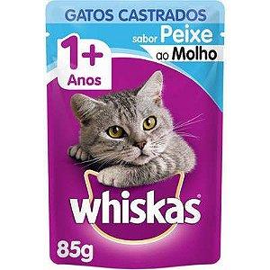 Ração Úmida Whiskas Sachê Peixe ao Molho para Gatos Adultos Castrados - 85g