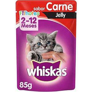 Ração Úmida Whiskas Sachê Carne Jelly para Gatos Filhotes - 85g