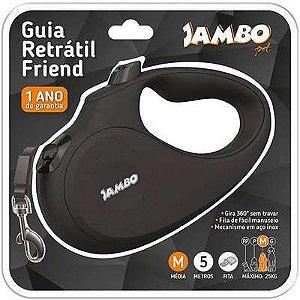 JAMBO GUIA RETRÁTIL FRIEND TAMANHO M COR PRETA - 5M