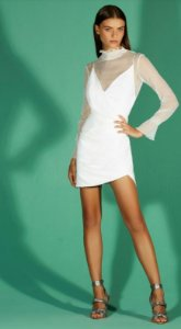 VESTIDO DRAPEADO LATERAL - OFF WHITE | REF:VE48910