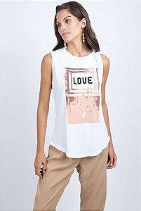 T-SHIRT SEM MANGA LOVE - BRANCO COM BEGE| REF: I1MATS15