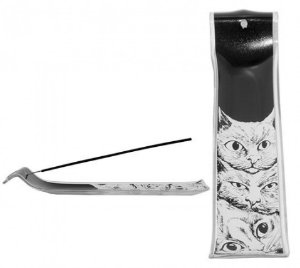 Incensário de vidro - gatos