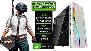 PC Gamer - Placa MãeB450-M + RYZEN 5 5600G + 8GB DDR4 2666Mhz + SSD 240GB + Placa de Vídeo GTX 1050 TI 4GB